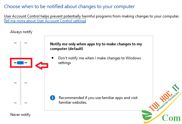 Cách tắt UAC User Account Control trên Windows 10 7