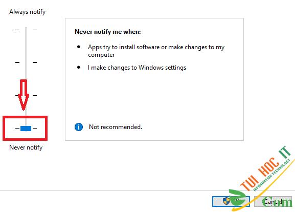 Cách tắt UAC User Account Control trên Windows 10 8