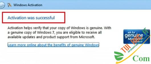 Cách kích hoạt bản quyền Windows 7 bằng key free 10