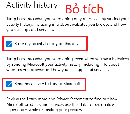 Hướng dẫn xóa lịch sử hoạt động trên Windows 10 12