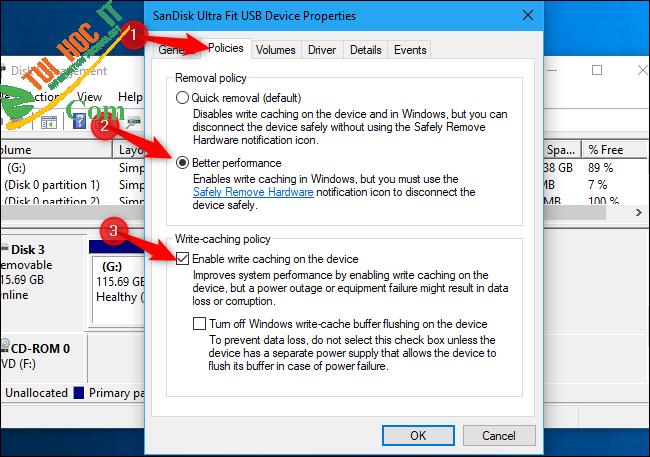 Hướng dẫn tối ưu bộ nhớ USB để có hiệu suất cao trên Windows 10 8