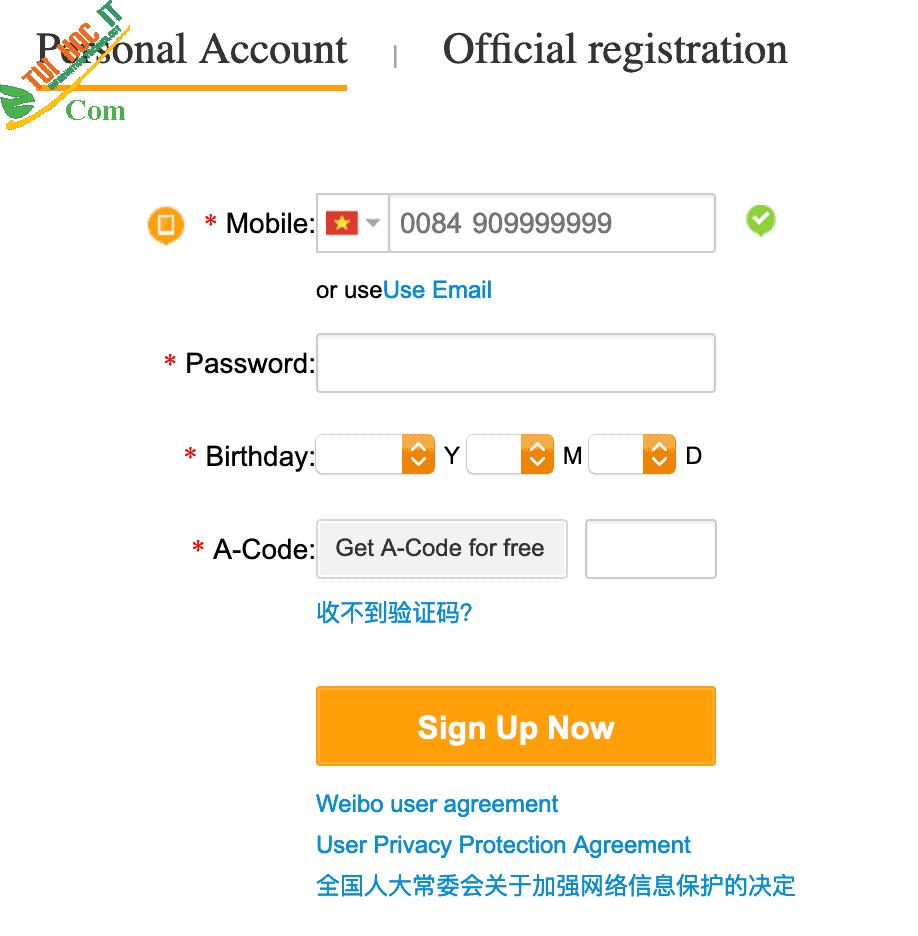 Top những cách đăng ký weibo đơn giản, nhanh chóng 20
